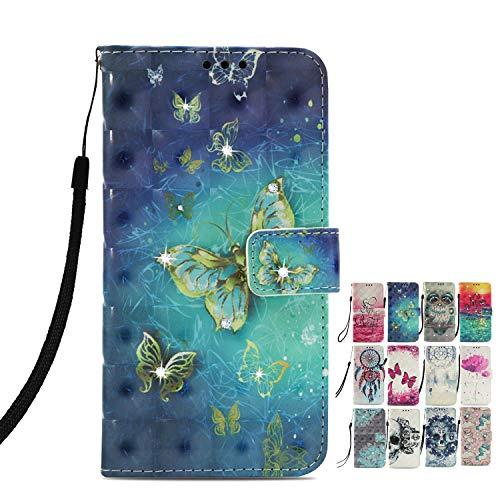 LA-Otter Kompatibel für Sony Xperia L2 Hülle Glitzer Diamant Leder Wallet Cover Tasche Handyhüllen mit Kartenfach Schutzhülle Flip Hülle - Schmetterling