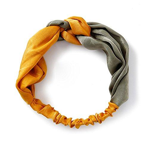 Demarkt 1 Pcs Bande de Cheveux rétro Couleur Double Femme Bande de Cheveux de Soie Traverser Headband Elastique Extensible Hairband (Jaune Vert)