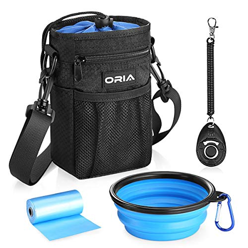 ORIA Dog Treat Bag, Dog Treat Pouch, Dog Treat Training Bag with Pet Training Waste Bag, Poop Bag Dispenser, Adjustable Strap, Collapsible Dog Bowl, Storage for Training, Treats, Toys, Blue
