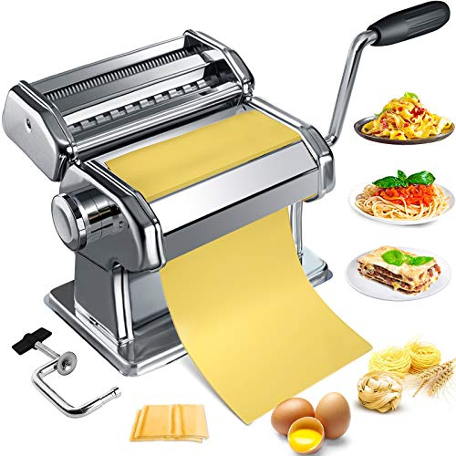 Pasta Maker Machine Homemade Stainless Steel Manual Roller Pasta Maker With Adjustable Thickness Settings Sturdy Noodles Cutter with Clamp for Spaghetti Fettuccini Lasagna or Dumpling Skins