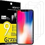 NEW'C 3 Pezzi, Vetro Temperato per iPhone 11 PRO e iPhone X e iPhone XS, Pellicola Prottetiva Anti Graffio, Anti-Impronte, Senza Bolle, Durezza 9H, 0,33mm Ultra Trasparente, Ultra Resistente