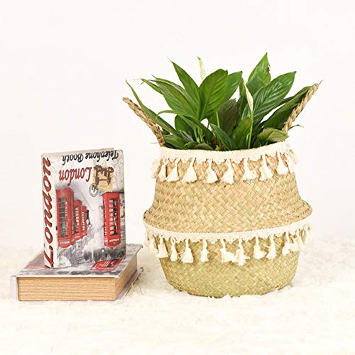 Handgemaakte bamboe mandje Storage mand vouwen kleren Clthoes rieten plant bloeit stro rotanmand buik in de pot tuin,white 02,27cmX23cm