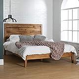 Walker Edison Mid Century Modern Wood Queen Platform Bed FrameHeadboard Footboard Bed Frame Bedroom Caramel BrownQueen