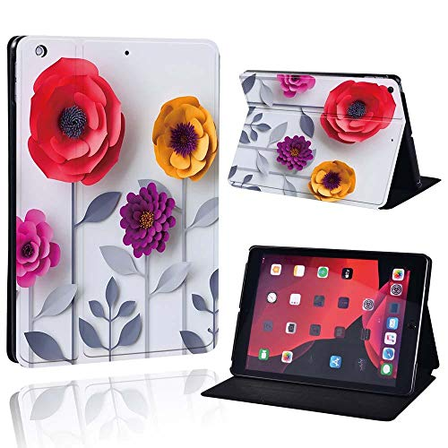 lingtai Slim Leather Case For Ap Ipad Mini 1/2/3/4/5/ Ipad 2/3/4 /Air 1/2/3 /Pro Tablet Stand Protective Case+Free Pen (Color : Flower, Size : IPad Air 3 10.5 2019)