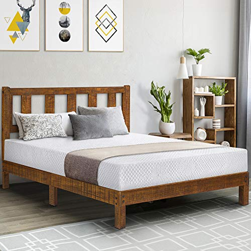 Olee Sleep 14 Inch Deluxe Solid Platform Headboard,Wood Bed Frame, Full, Natural
