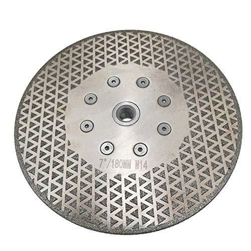 NIANZAI Hongfubang 1 unidad de 7 cm / 180 mm, dos lados diamantados, hoja de sierra de corte de disco M14 Brida para granito mármol muele