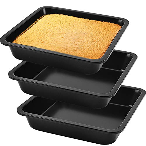 3 Pack Square Cake Pan 8 Inch Square Baking Pan,Stainless Steel Square Cake Brownie Pan for Home Kitchen Oven Baking,Black