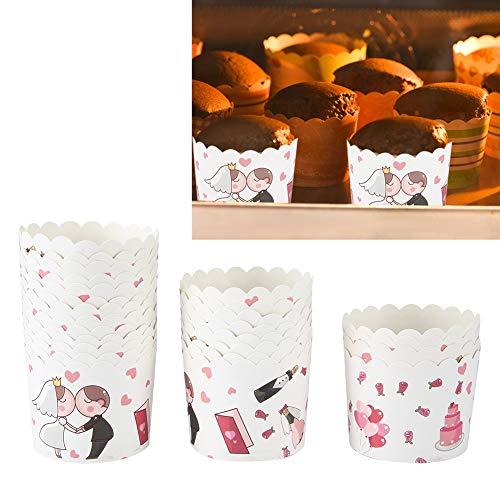 Changor Taza de Papel de Pastel, Tazas de horneado rápido Muffin 7x6x5.5cm Hecho de cartón Blanco 220 ℃ para Cocina DIY Party Pastel Decoración para Hornear