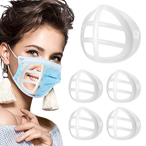 3D Mask Bracket for Comfortable Wearing, 5 PCs Clear Silicone Inner Support Frame Keep Fabric off Mouth to Create More Breathing Space (5 PACK)