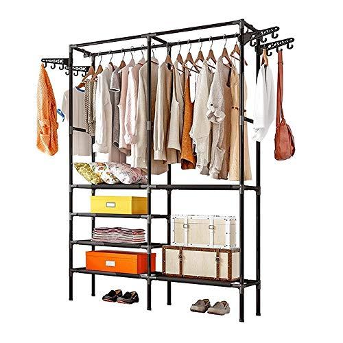 DIY Vergadering Wardrobe Zwarte Kleerhanger Kapstok, Floor Hanger Storage Wardrobe Kleding Droogrekken Met Schoenrooster