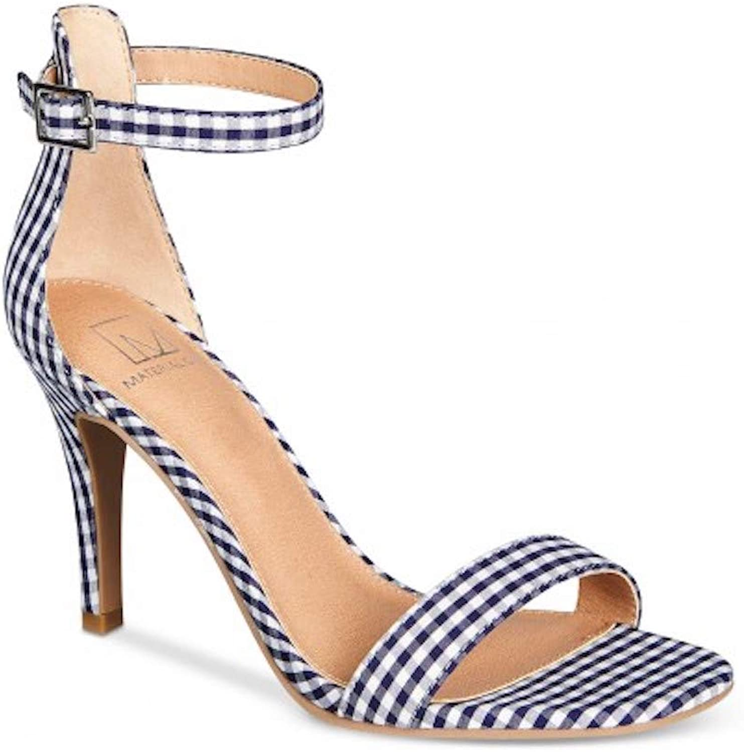 Material Girl Womens Blaire Open Toe Formal Ankle Strap, bluee Gingham, Size 12.0