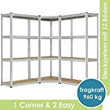 [page_title]-Juskys 3er Metall Regalsystem Easy | 1 Eckregal & 2 Lagerregale | 12 Böden aus MDF Holz | 960 kg | Schwerlastregal Steckregal