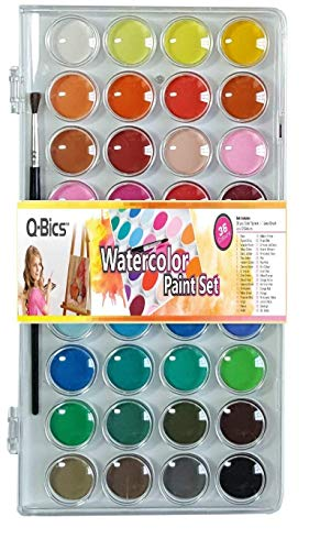 Q-BICS Artist Paint 36 Colors Watercolor Pan Set Paintbrush Water-cakes Palette Lid Case and Paintbrush Easy to Blend Colors Perfect for Kids Adults