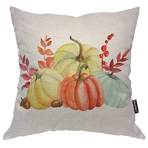 Moslion Pumpkin Fall Throw Pillow Covers Watercolor Autumn Pumpkins Harvest Season Leaves Acorn Nut Art Throw Pillow Cases for Home Decor Halloween Thanksgiving Cushion Cover Cotton Linen 18x18 inch