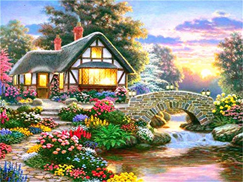 5D DIY Diamond Painting by Number Kit House at Dusk Square Drill,120x90cm Adults and Kids Full Drill Beads Crystal Rhinestone Embroidery Cross Stitch Supplies Arts Craft for Home Wall Decor U3545