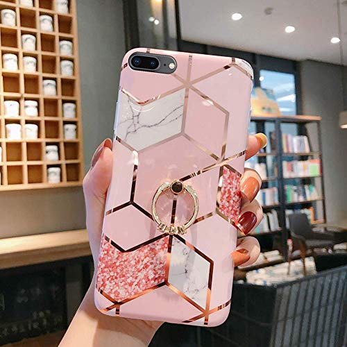 Herbests Kompatibel mit iPhone 8 Plus/iPhone 7 Plus Hülle Handyhülle Marmor Muster Glänzend Glitzer Bling Weich Silikon Hülle Kratzfest Schutzhülle Tasche Crystal Case Ring Halter Ständer,Rose Gold