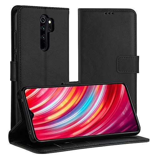 Simpeak Hülle Kompatibel mit Xiaomi Redmi Note 8 Pro [6,53 Zoll], Handyhülle Kompatibel für Redmi Note 8 Pro Flipcase Leder [Kartensteckplätze] [Stand Feature] [Magnetic Closure Snap] - Schwarz