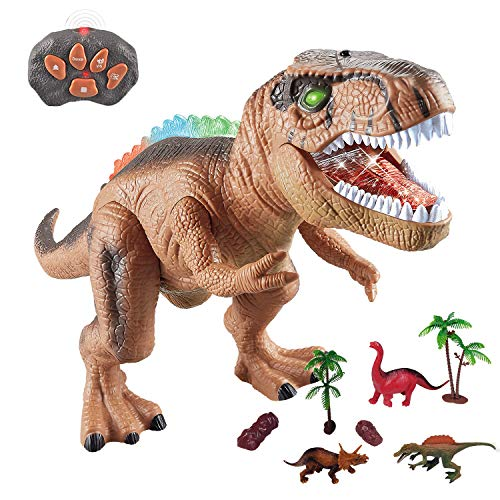 WISHTIME Dinosaurio de Control Remoto ElectricToy Kids RC Animal Toys LED Light Up Dinosaur Walking and Roaring Realista T-Rex Robot Toys For Toddlers Boys Girls