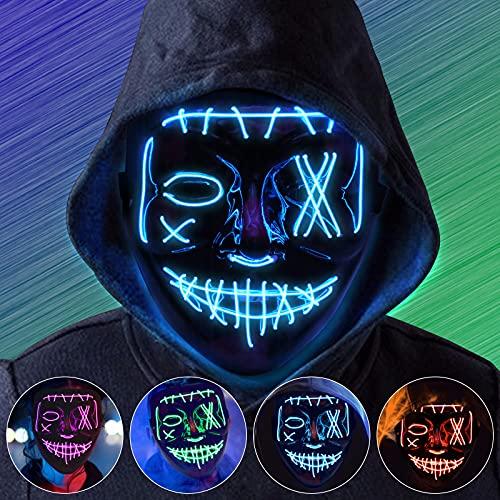 Halloween LED Máscaras, Purga Grimace Mask, LED Luminosa Terror Máscaras, LED Máscaras Carnaval con 3 Modos de Iluminación, para Navidad, Halloween, Cosplay, Grimace Festival, Fiesta Show y Mascarada