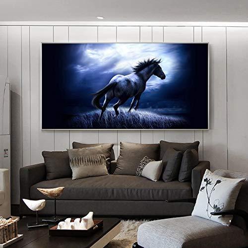 KWzEQ Tierplakat und Leinwanddruck Wandkunst Wandbild Moderne Dekoration Malerei Pferd Wand Wohnzimmer,Rahmenlose Malerei,75x150cm