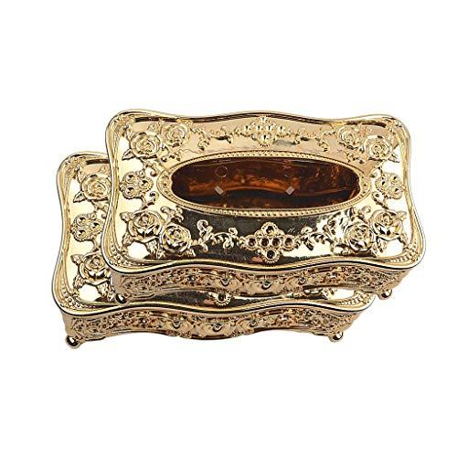 2X Retro Vintage Style Caja de pañuelos Acrílico Servilletero Cubierta de papel Titular de oro