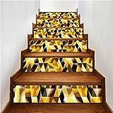 Calcomanía para escaleras o decoración del hogar, diseño abstracto de cubos gráficos de bloques, para escaleras o decoración del hogar, Color01, 7.08' x 43.3' Set of 6