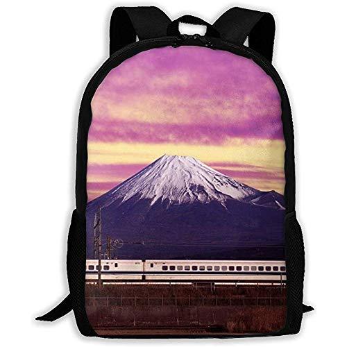 Mochila Escolar Shinkansen Mount Fuji Colorful Sky Mochila para Adultos Mochila básica Informal Ligera para niños y niñas