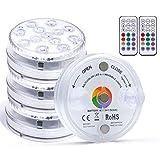 Kintty LED Luci Piscina, Luce Subacquea con Telecomando Immergibili Luci IP68 RGB Multicolore Impermeabile Luci LED Laghetto Illuminazione per Decorazioni per la Casa (4PACK)