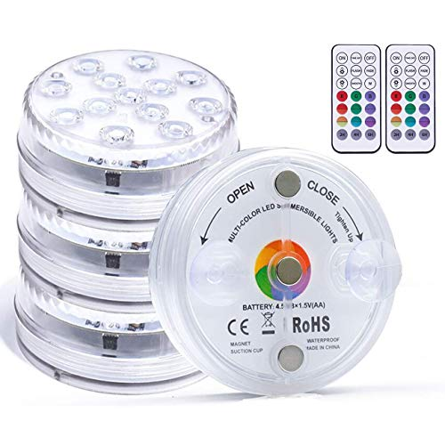 Kintty Unterwasser Licht, Wasserdichte LED Leuchten,IP68 RGB Multi Farbwechsel 13-LED Leuchten mit RF-Fernbedienung,Pool Licht, für Vase Base, Holloween, Party, Hochzeit,Aquarium- 4 Stück