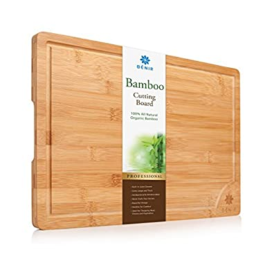 """XL BAMBOO CUTTING BOARD SERVING TRAY - Longest Lasting Large Organic Antibacterial Wooden Butcher Block with Drip Grooves (18x12x0.8"""")"""