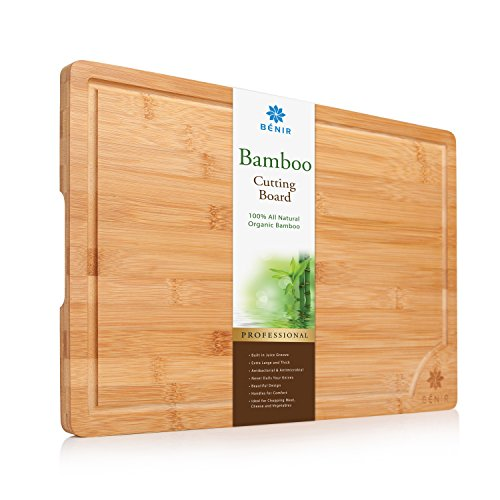 """XL BAMBOO CUTTING BOARD SERVING TRAY - Longest Lasting Large Organic Antibacterial Wooden Butcher Block with Drip Grooves (17-3/4x12x0.8"""")"""