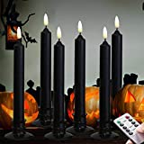 Halloween 6PACK Black Wax Flameless Battery Powered Windows Candles with Remote and Timer ...