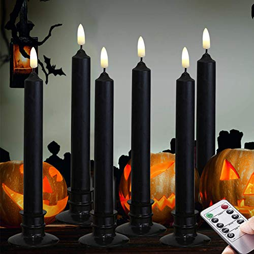 Halloween 6PACK Black Wax Flameless Battery Powered Windows Candles with Remote and Timer & Candlestick. Removable Black Candleholders. Remote Included.