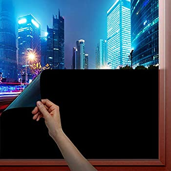 BDF 1BKOT Static Cling Blackout 100% Light Blocking Window Film- Easy Installation Removal & No Residue - 36in X 22ft