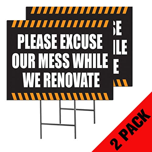 Please Excuse Our Mess While We Renovate | 2-Pack Double Sided Outdoor Yard Signs with Metal Ground Stakes | Full Color | 24 x 18 Inches