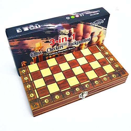 CHENSTAR Juego de ajedrez de madera 3 en 1, plegable, juego de ajedrez de madera, juego de tablero de damas juegos educativos para niños con almacenamiento interior plegable portátil