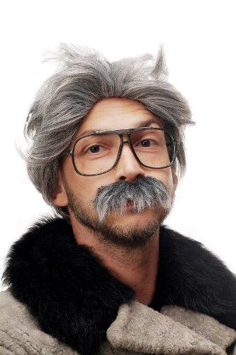 WIG ME UP- 4129-P103-68A Peluca y Bigote Gris Carnaval Halloween Einstein Abuelo, Viejo, científico Loco, Mad Scientist, Profesor