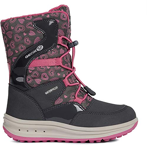 Geox Mädchen Snowboots Roby Girl WPF, Kinder Winterstiefel,Schneeboots,Schneeschuhe,Moon Boots,Canadians,DK Grey/Fuchsia,32 EU / 13 UK Child