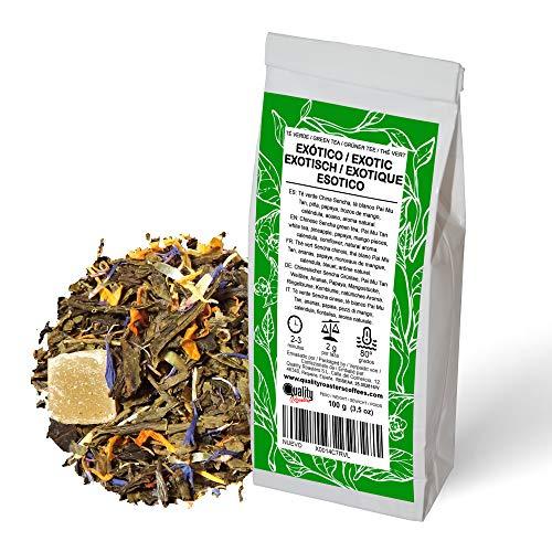 Té Verde. Exótico. Blend. Sabores, exótico y a bergamota. Té verde, té blanco, piña, mango, caléndula y aciano. Antioxidante. Diurético. 100 gramos