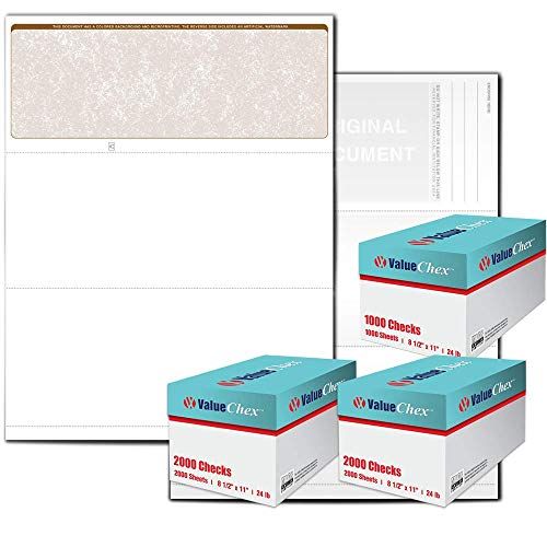 VersaCheck ValueChex Blank Check Paper - Form #1000 Business Voucher Check on Top - Tan - Classic - 5000 Sheets/5000 Checks