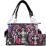 Justin West Camouflage Tree Branches Bling Rhinestone Cross Wings Handbag Purse Messenger Bags and Wallet Purple Wing