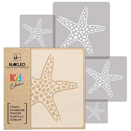 5 pcs Reusable Plastic Stencils // STARFISH // 13.4' to 3.5' // Kids Room Decor // Nursery Template