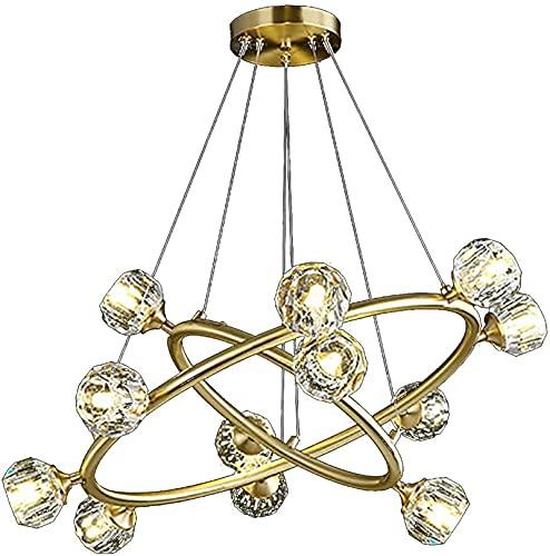 Chandelier de cristal de anillo de oro 2, G9 LED Luces colgantes de cristal industrial modernas, luz de colgante ajustable de altura para sala de estar dormitorio comedor (Color : Copper)