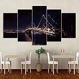 Zaosan Gemälde Wandrahmen für Hauptdekoration 5 Brücken San Francisco City Night Poster drucken