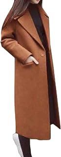 maweisong 女性のボタンダウンウールアウトウェアピーラペルコートパーカオーバーコートウインドブレーカー