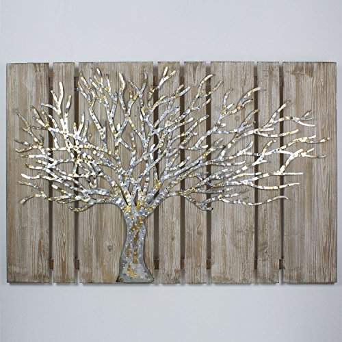 mosa designs 3D Metallbild auf Holzuntergund Wandbild Écorce Wanddeko 120x80cm Relief Handarbeit