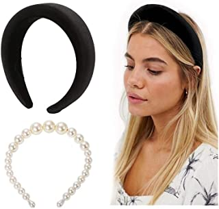 POPINK Womens Padded Headbands Fashion 2PCS Thick Velvet Pearl Vintage hair accessories Alice Band headband