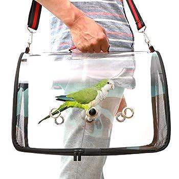 WTTTTW Cage à Oiseaux de Transport en Plein air de Voyage, Sac Respirable Transparent de Perroquet de PVC d'accessoires de Transport