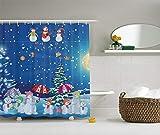 Weihnachten Schneemann Winter Snowkids schneit Mondlicht Schneeflocken Digital Print blau gelb weiß Fuchsia Pink grün Lange Duschvorhänge Haken Home Dorm Hotel Bad Dekor 72 x 72 In