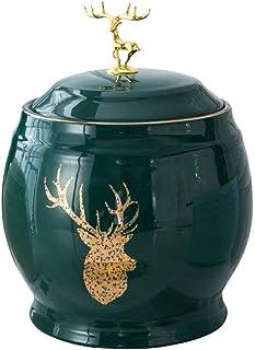 FANGFHOME Cylindre De Riz en Céramique Seau De Riz Domestique avec Couvercle Boîte De Rangement pour Aliments De Cuisine S...